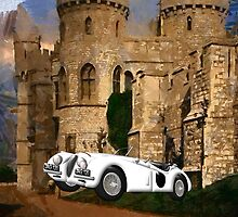Jaguar XK120 at Windsor Castle iPhone/iPad case by Dennis Melling