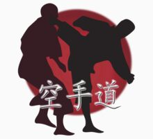 Silhouette of a Karate Fight, Japanese Flag in Background Kids Clothes