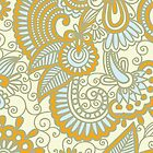 Oriental Iranian Paisley, Swirls - Blue Orange by sitnica