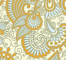 Oriental Iranian Paisley Swirls Blue, Orange by sitnica