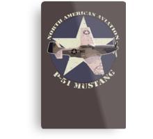 Vintage Look North American Aviation P-51 Mustang Fighter Metal Print
