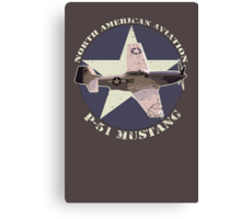 Vintage Look North American Aviation P-51 Mustang Fighter Canvas Print
