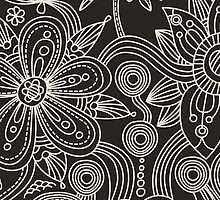 Oriental Persian Paisley, Dots - Black White by sitnica