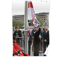 Unfurling the flag at City Hall Poster