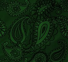Oriental Old Fashioned Persian Paisley Green by sitnica