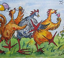 Fowl Play Series:  Chicken Conga Line by Jeanne Vail