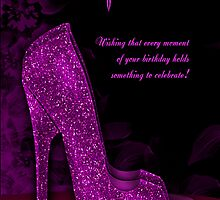 Stylish Glamour Shoe Birthday Greeting Card by Moonlake