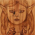 Pyrography: Gumnut Wood Nymph's Tear by aussiebushstick