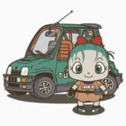 Young Bulma and her car by SaMtRoNiKa