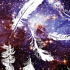 Galaxy blue purple white feathers by hellohappy