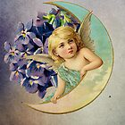 sweet angel angelic cherub girl flowers moon by hellohappy