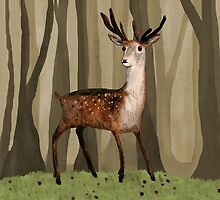 Deer in the Woods by Sophie Corrigan