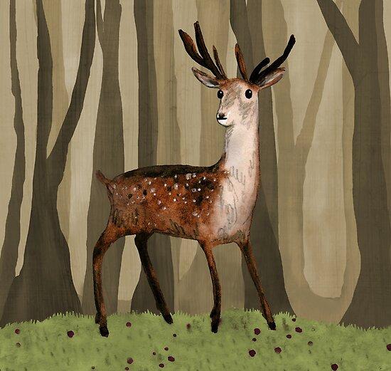 Deer in the Woods by Sophie Corrigan