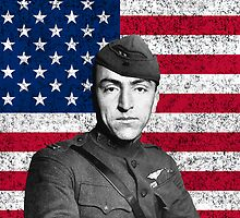 Eddie Rickenbacker And The American Flag by warishellstore