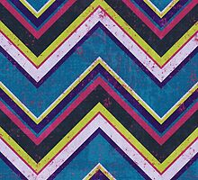 Zigzag (Chevron), Stripes, Lines - Blue Pink Green  by sitnica