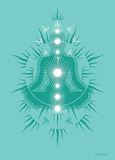 Yoga pose Turquoise-Soft seafoam teal-White by aygeartist