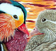 Mandarin Ducks in Love by ShannonClements