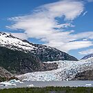 The Mendenhall Glacier on a Blue Sky Day, Alaska by Gerda Grice