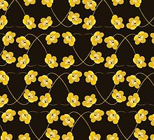 Blooming Flowers and Petals - Brown Yellow by sitnica