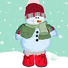 Watercolor Snowman Christmas Greeting Card by Moonlake
