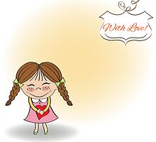 Funny girl with hearts. Doodle cartoon character. Vector Illustration. by Balasoiu Claudia