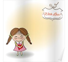 Funny girl with hearts. Doodle cartoon character. Vector Illustration. Poster