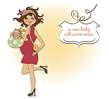 new baby announcement card with pregnant woman Photographic Print