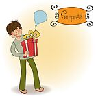 birthday card with boy and big gift box by Balasoiu Claudia