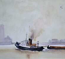 Thames Tug, (after Trevor Chamberlain)   by John Rees by HurstPainters