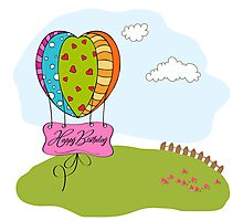 happy birthday card with balloons Photographic Print