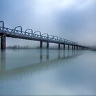 Bridge Under Fog VI - Murray Bridge, South Australia by Mark Richards