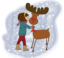 Christmas card with cute little girl caress a reindeer. Vector illustration by Balasoiu Claudia