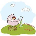 baby girl announcement card by Balasoiu Claudia