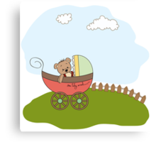 funny teddy bear in stroller, baby announcement card Canvas Print