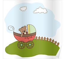funny teddy bear in stroller, baby announcement card Poster