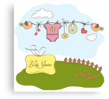 baby girl shower card Canvas Print