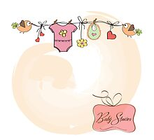 baby girl shower card Photographic Print