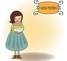 good friends greeting card by Balasoiu Claudia