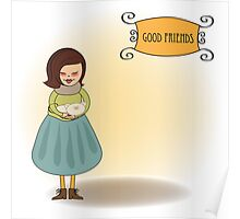 good friends greeting card Poster