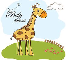 new baby announcement card with giraffe by Balasoiu Claudia