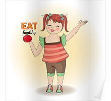 pretty young girl recommends healthy food Poster