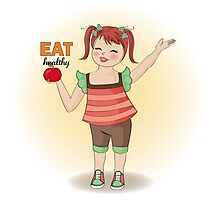 pretty young girl recommends healthy food Photographic Print