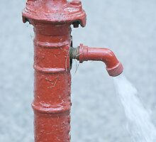 Red Outdoor Water Faucet by GysWorks