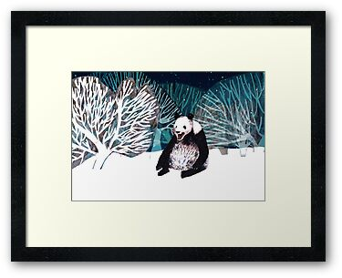 Panda bear in the snow by Susan Craig