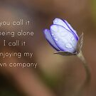 you call it being alone, i call it enjoying my own company by netza