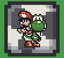 Mario & Yoshi with Egg Block Background by Funkymunkey