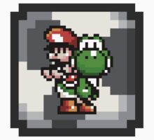 Mario & Yoshi with Egg Block Background Kids Clothes