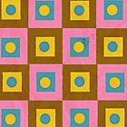Retro Style Pink,Brown and Yellow Pattern by ibadishi