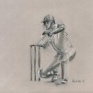 Kevin Pietersen - original batting sketch by Paulette Farrell