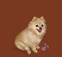 Pomeranian Dog with Ball by Delores Knowles